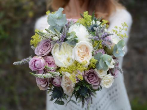 Bridal Bouquet Vintage Pink & Cream Flowers