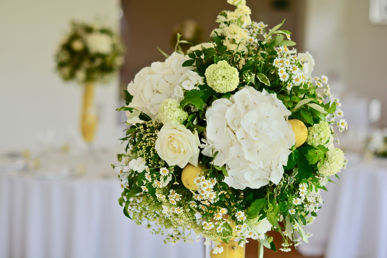 Sphere of lush greenery including variegated pittosporum, pistachio, vibernum snowball, lace-cap hydrangeas and complemented with ivory and white Snowball hydrangeas, stocks, matricaria feverfew, Avalanche roses and a lemon or two.