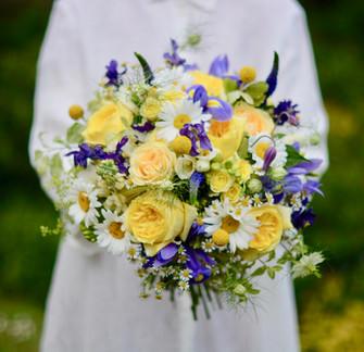 Blue & Yellow Bridal Bouquet