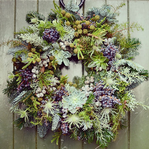 Christmas wreath, greenery, berries