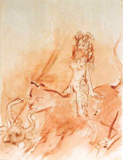 Frau auf Löwe