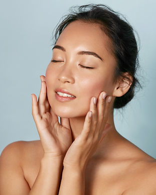 Skin care. Woman with beauty face and he