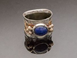 Lapis Etched Silver and Bronze Ring