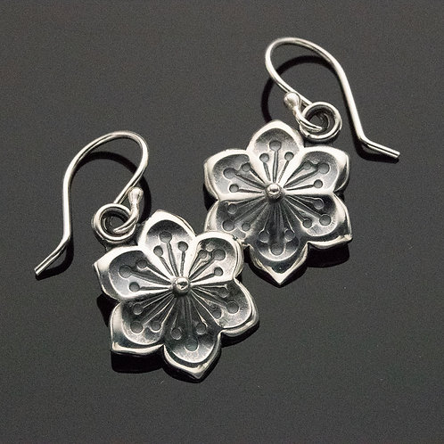 Art Deco Flower Dangle Earrings in Sterling Silver