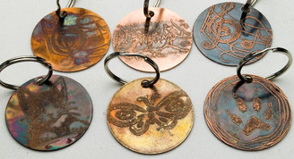 Etched Copper Keychains, Double Sided