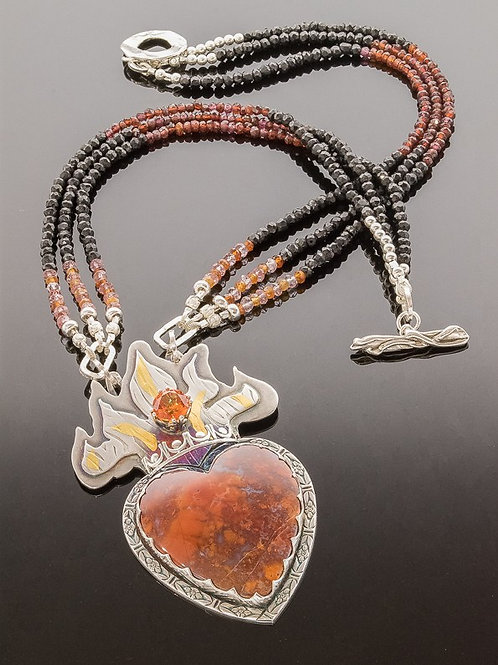 Flaming Heart Gemstone Statement Necklace