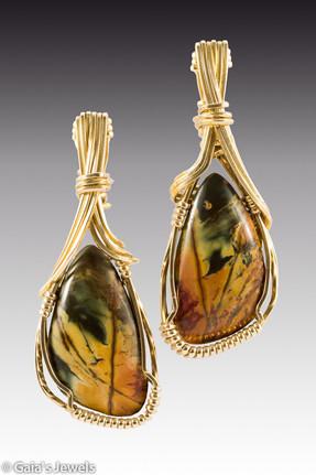 Jasper and Brass Earrings