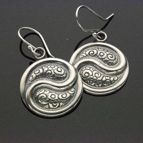 Floral Yin Yang Sterling Silver Dangle Earrings