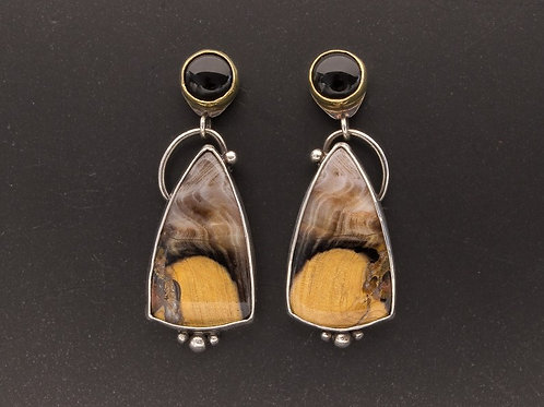 Petrified Channel Wood, Onyx, 18k gold and Sterling Silver Dangle Earrings