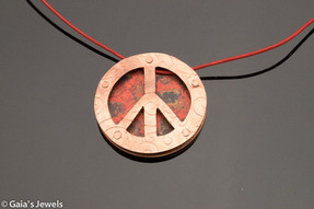 Peace Sign 3D Wildfire Patina on Leather Necklace