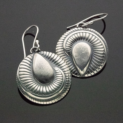 Art Deco Dial Dangle Earrings in Sterling Silver