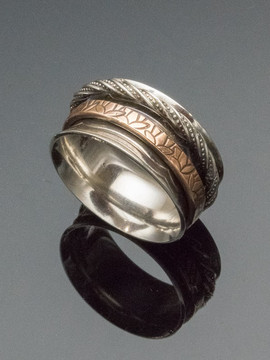 Double Spinner Ring in Patterned Sterling Silver and Bronze