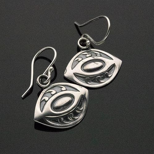 Art Deco Eye Dangle Earrings in Sterling Silver