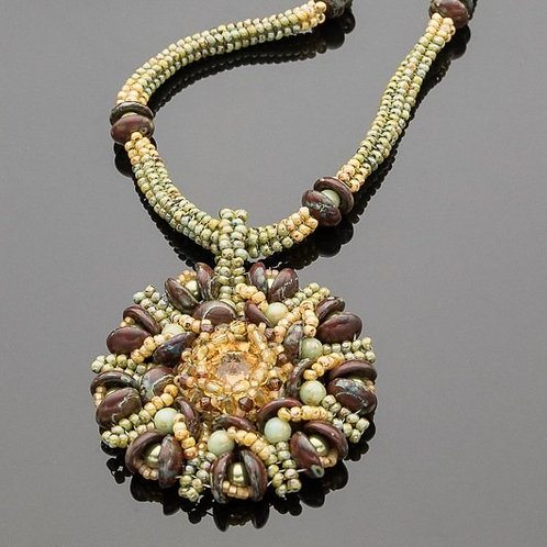 Swarovski Crystal Medallion Pendant Necklace on Woven Seed Bead Chain