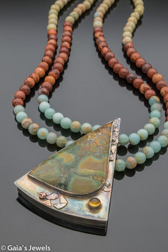 Magnesite Marble and Citrine in Sterling Silver Setting w Copper Accents on Double Stranded Rainbow African Opal Necklace