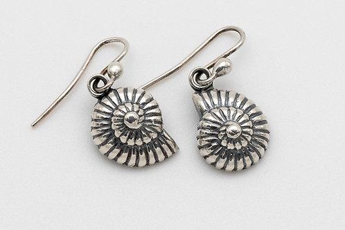 Spiral Sea Shell Dangle Earrings in Sterling Silver