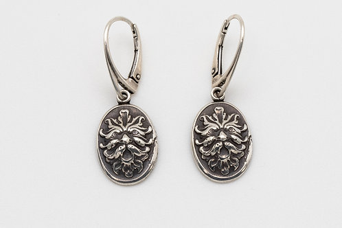 Green Man Impression Earrings in Sterling Silver w Lever Back Hooks
