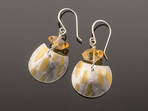 Yellow Citrine, Gold and Sterling Silver Dangle Earrings w Textured Silver