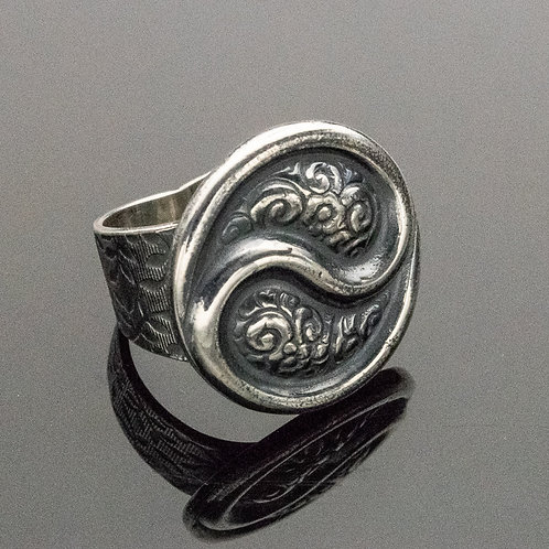 Floral Yin Yang Sterling Silver Ring