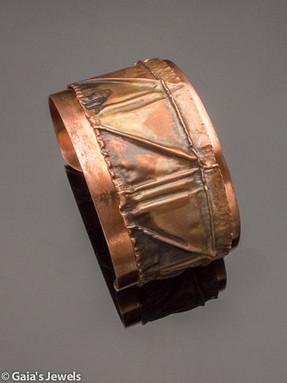 Fold Formed Triangles Wide Copper Cuff Bracelet, Large