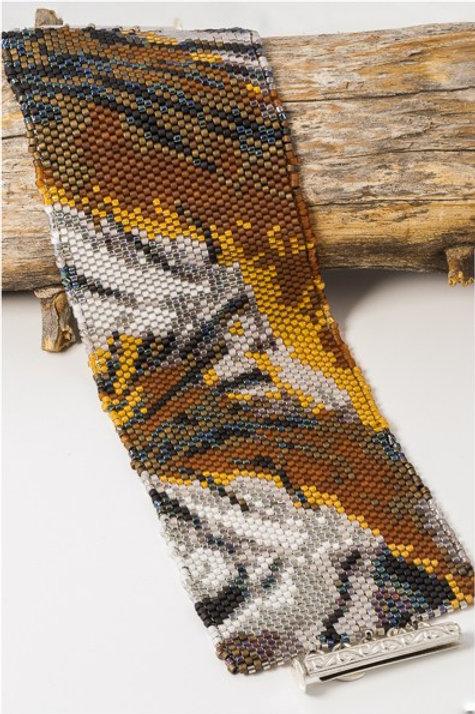 Tiger Print Woven Peyote Cuff Bracelet w Sterling Silver Clasp