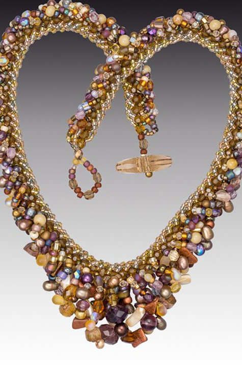Bead Soup Extraordinaire Woven Beaded Rope Necklace