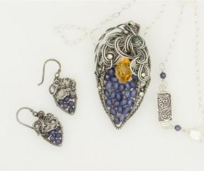 Chaos Curls w Citrine & Blue Jade Necklace Earrings Set