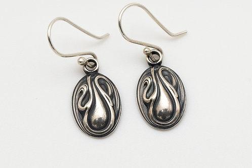 Art Deco Drop Earrings in Sterling Silver | Dainty Oval Dangle Earrings