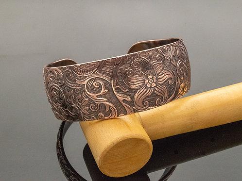 Vintage Floral Pattern Copper Cuff Bracelet