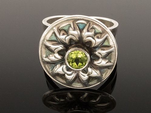 Peridot Sterling Silver Flower Ring