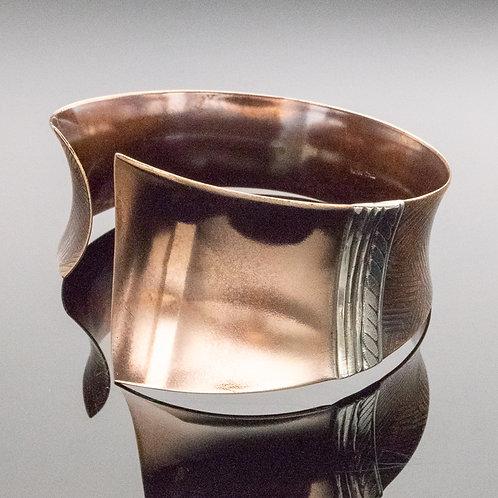 Asymmetrical Cuff Bracelet in Bronze w Silver Accent