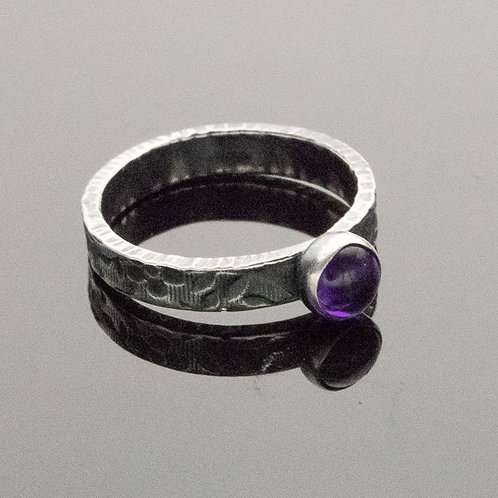 Classic Narrow Stacker Ring in Sterling Silver w Gemstone Choices
