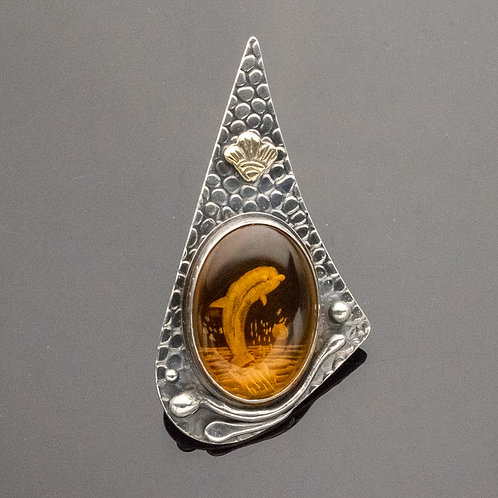 Dolphin Pendant in Carved Amber and Sterling Silver