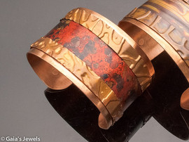 Red Wildfire Patina Copper Cuff Bracelet, Medium