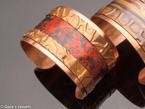 Red Wildfire Patina Copper Cuff Bracelet, Medium