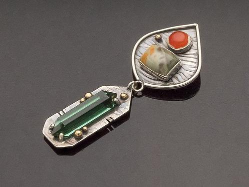 Green Quartz Point, Fire Opal, Morrisonite Sterling Pendant