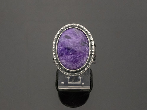 Classic Gemstone Ring  Purple Charoite Sterling Silver Peacock Design Shank