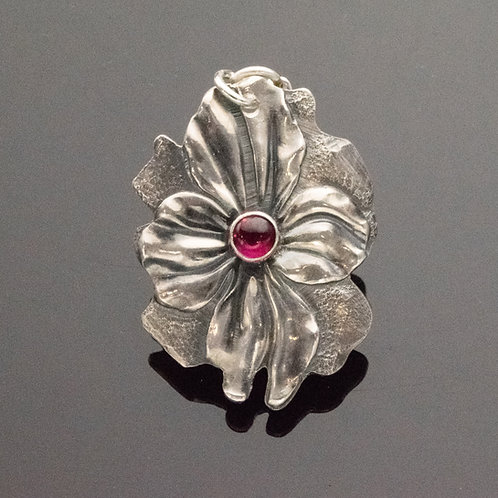 Flower Pendant in Sterling Silver with Gemstone Choices