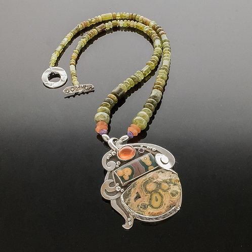 Ocean Goddess Gemstone Amulet Necklace