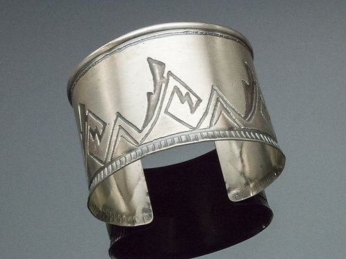 Acoma Pottery Design Silver Cuff Bracelet