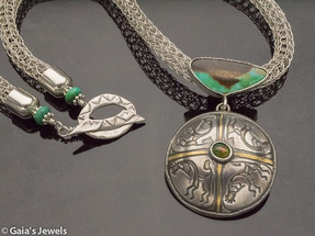 """""""Harvest"""" Statement Necklace – Candeleria Turquoise, Black Opal in Etched Sterling Silver with Kokopeli"""