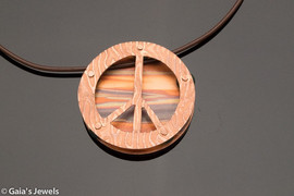 Layered Peace Sign with Enchantment Patina on Leather Necklace