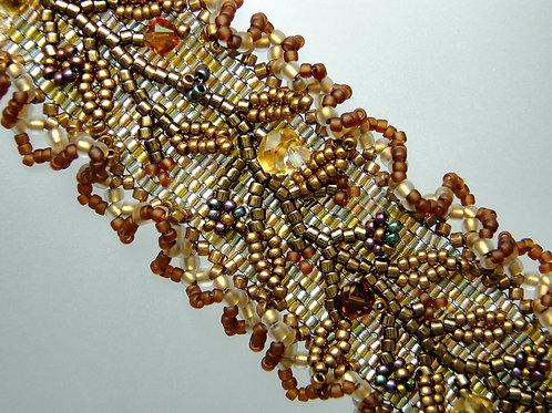 Embroidered Peyote Stitch Cuff Bracelet with Citrine & Swarovski Crystals