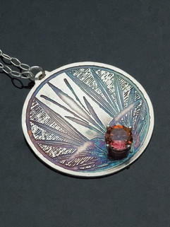 Etched Lotus and Pink Topaz Pendant