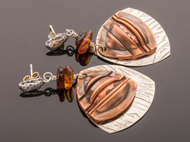 Folded Copper on Silver w Amber Earrings