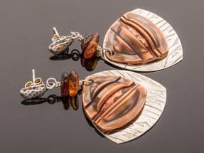 Folded Copper on Silver w Amber Earrings
