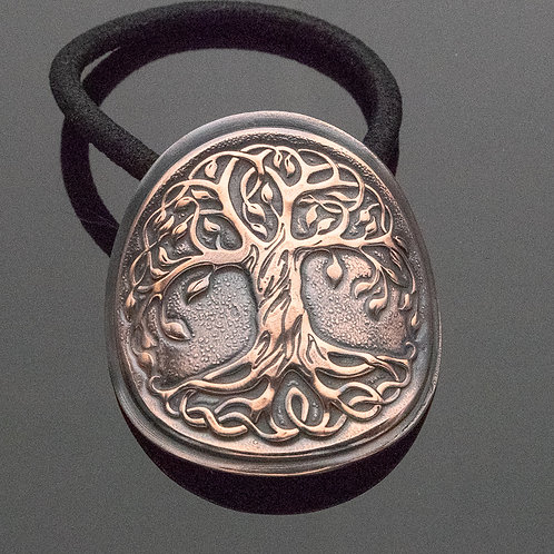 Tree of Life Copper Impression Ponytail Holder Hair Tie