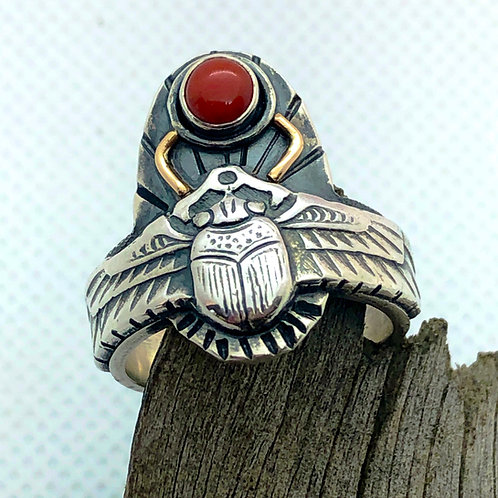 Egyptian Style Scarab Ring in Coral, Silver and Gold