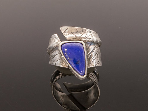 "Sterling Silver and Lapis ""Talon"" Ring"