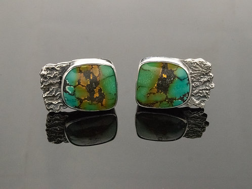 Turquoise Cufflinks w Reticulated Silver Accent